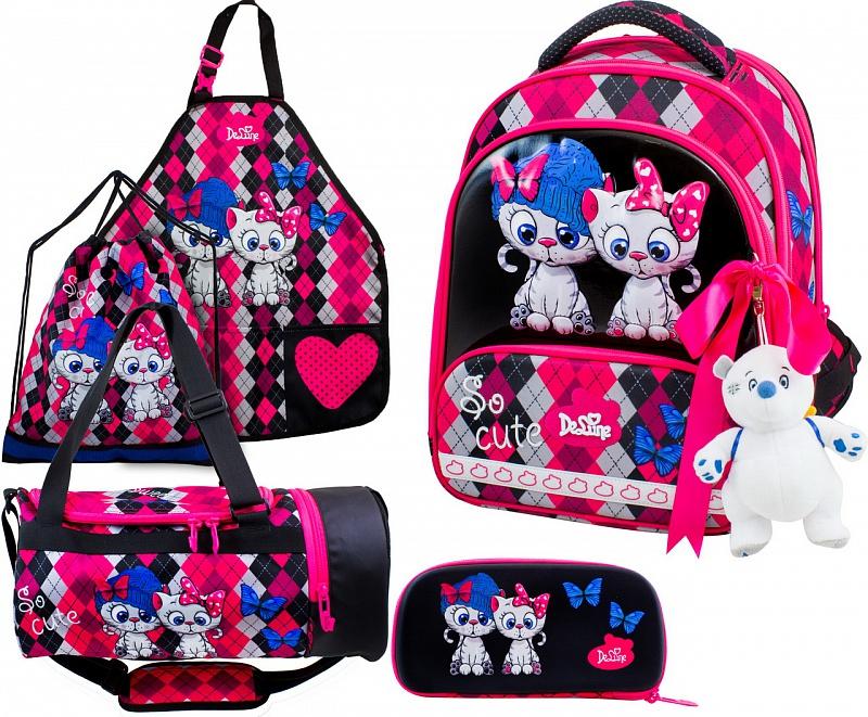 Ранец DeLune Full-set 9-124 + мешок + жесткий пенал + спортивная сумка + фартук для труда + мишка + ленточка