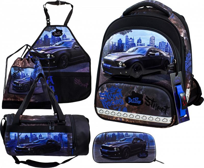 Ранец DeLune Full-set 9-130 + мешок + жесткий пенал + спортивная сумка + фартук для труда + часы